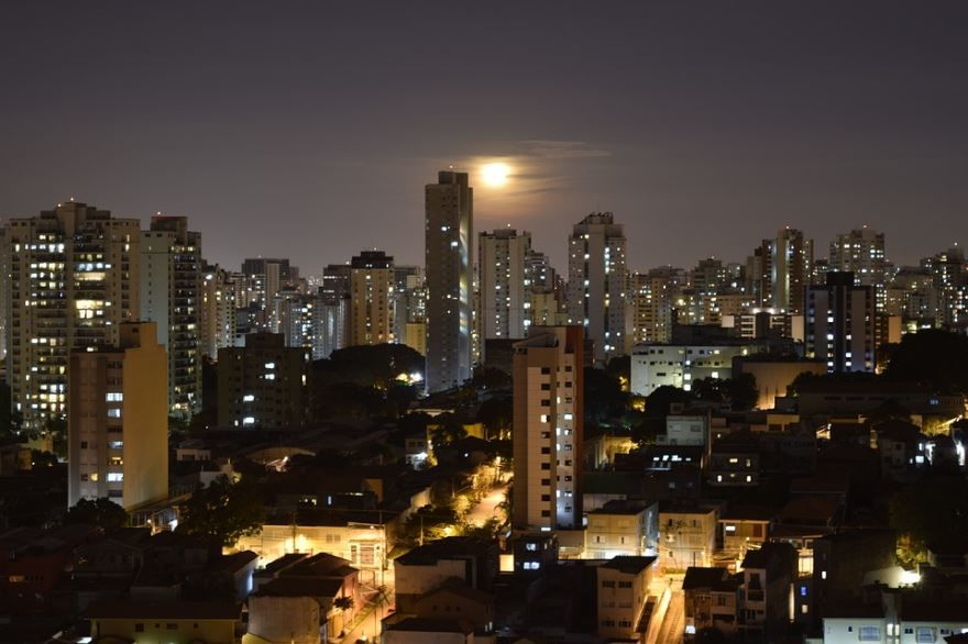 Ночное фото город Сан Паулу