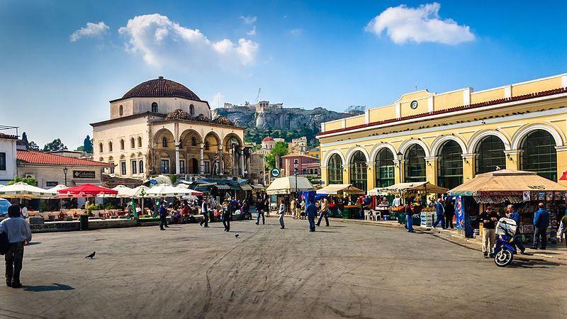 Площадь Монастираки и вокзал город Афины