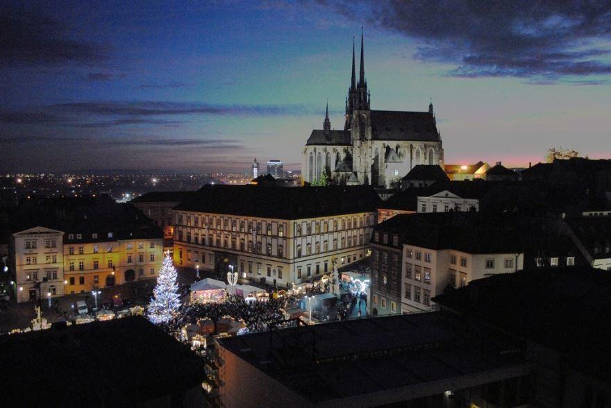 Ночное фото город Брно 2019