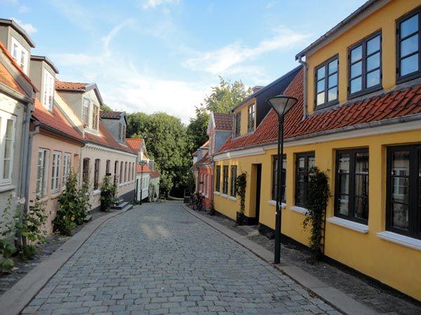 Улица город Оденсе Дания