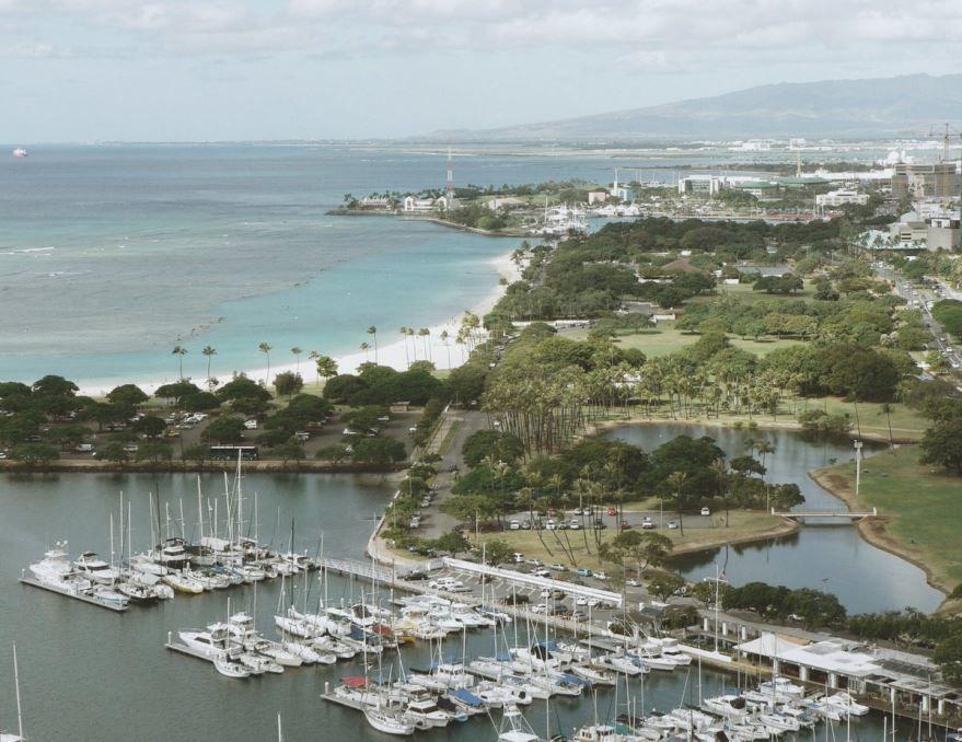Порт города Гонолулу Гавайские острова