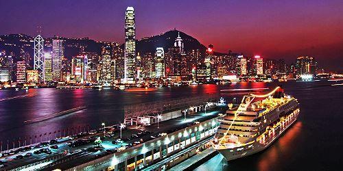 Ночное фото город Гонконг