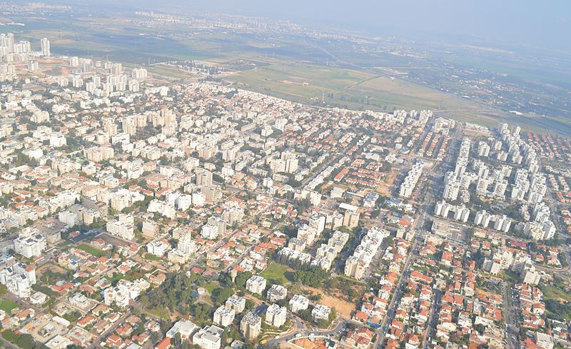 Вид на город Реховот Израиль