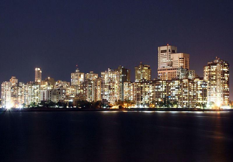 Ночное фото города Мумбаи Индия