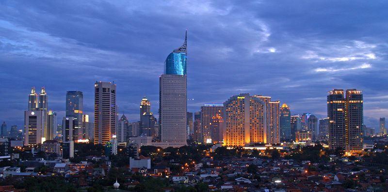 Ночное фото город Джакарта