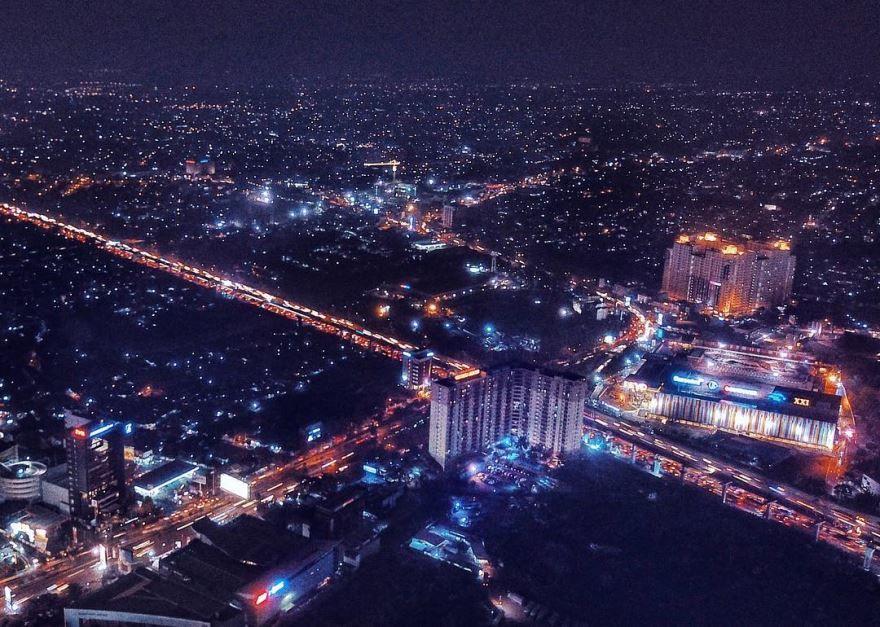 Панорама города Бекаси Индонезия