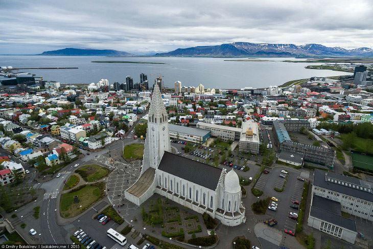 Панорама город Рейкьявик Исландия