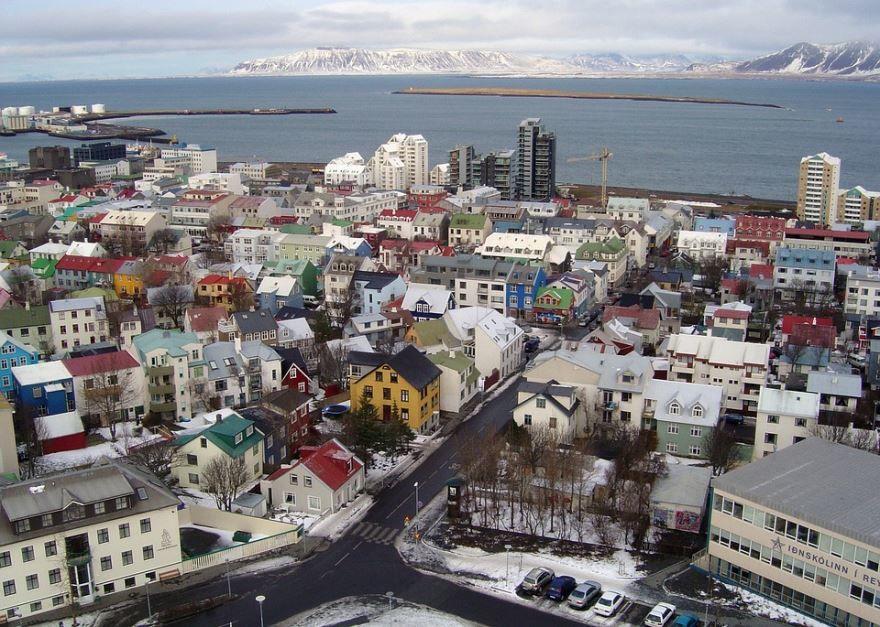 Вид сверху город Рейкьявик Исландия