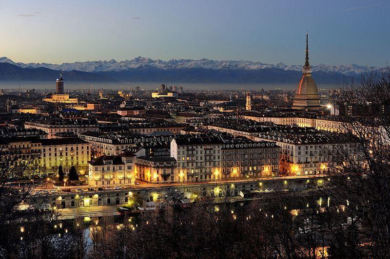 Ночное фото город Турин