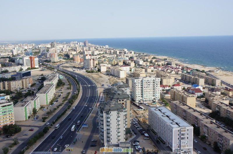 Вид на город Актау Казахстан
