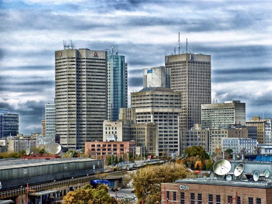 Вид на город Виннипег Канада