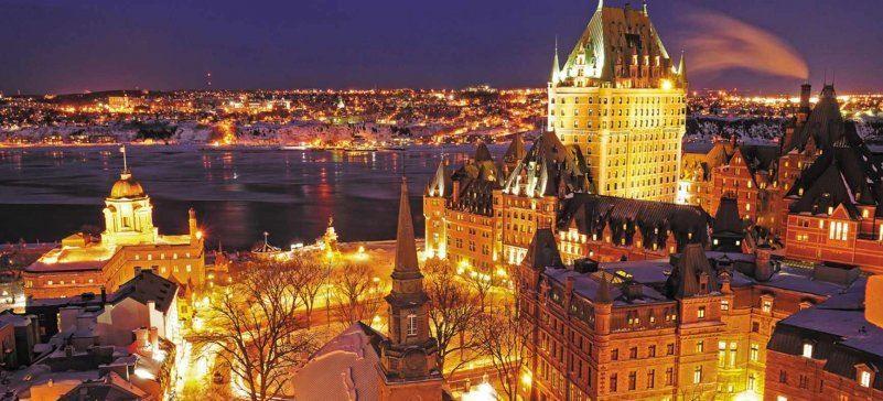 Ночное фото город Квебек