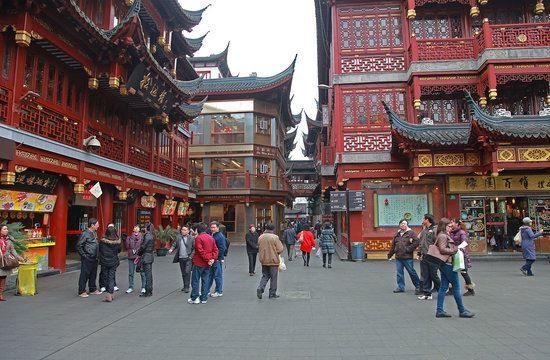 Улица города Шанхай Китай
