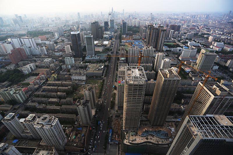 Вид сверху на город Шэньян Китай