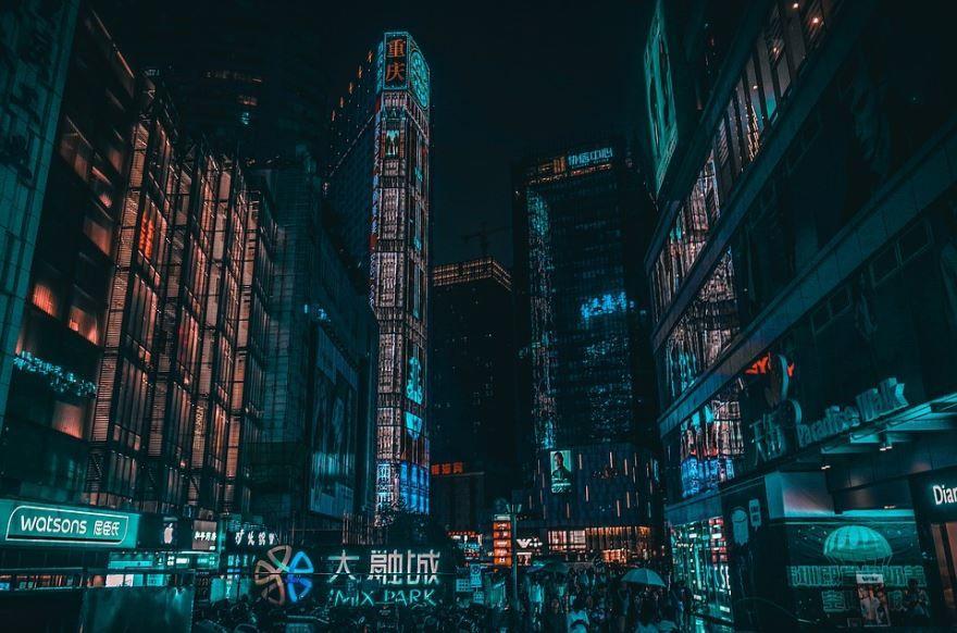 Ночное фото город Чунцин в хорошем качестве