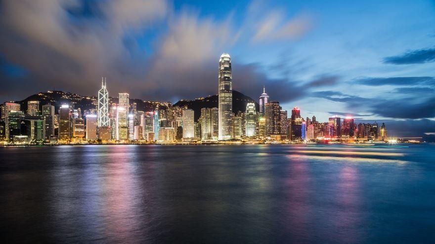 Ночное фото города Гонконг Китай