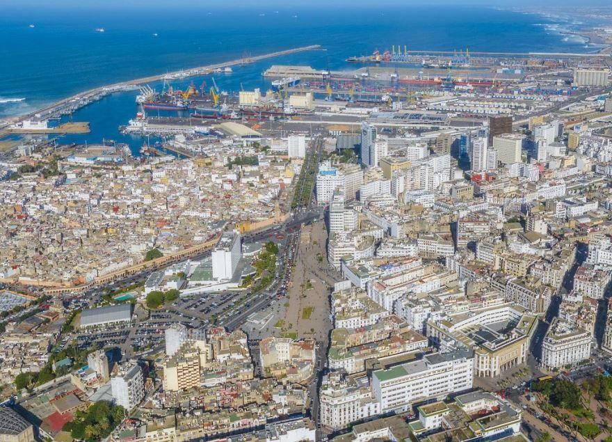 Вид сверху на город Касабланка Марокко