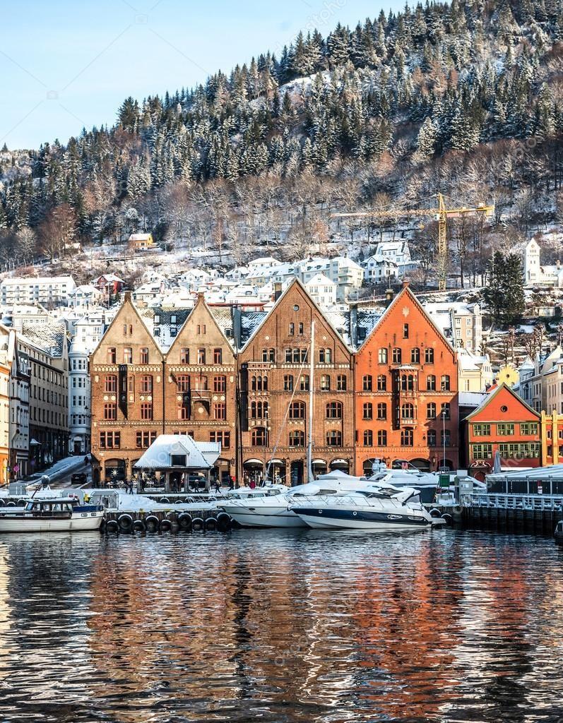 Фото города Берген Норвегия