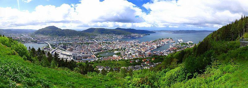 Панорама города Берген Норвегия