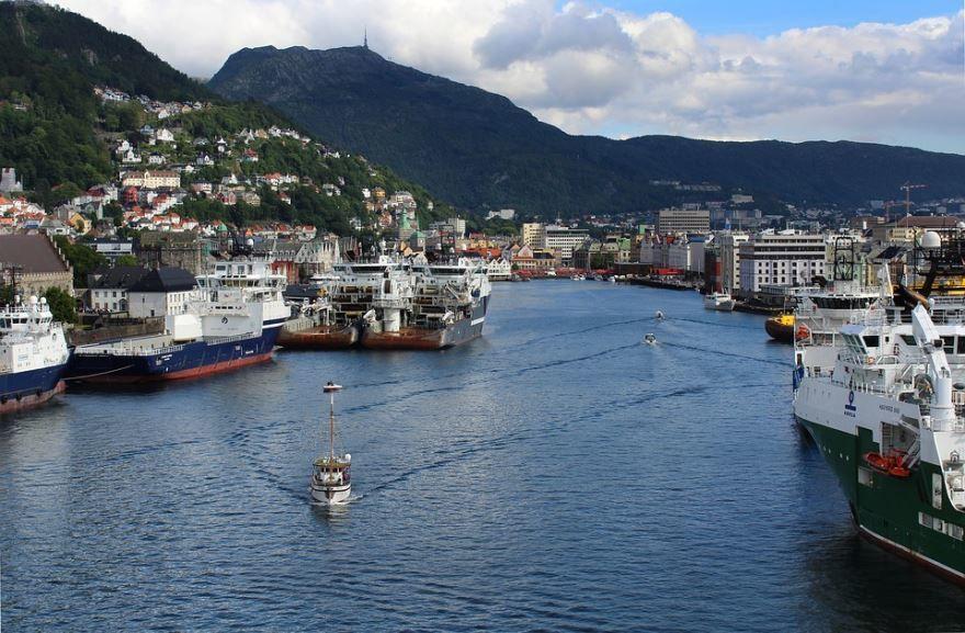 Порт города Берген Норвегия