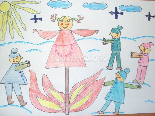 Чучело на Масленицу рисунок карандашом