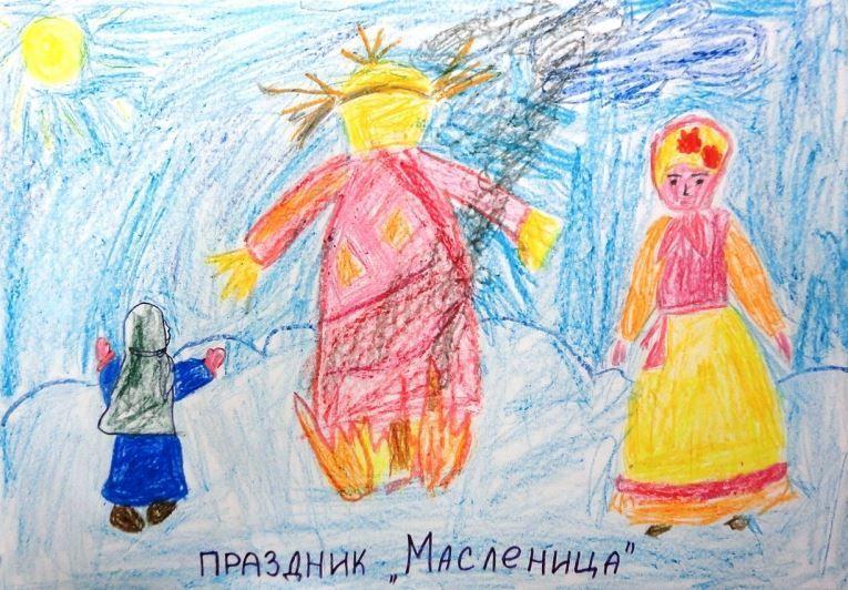 Масленица рисунки детей карандашом