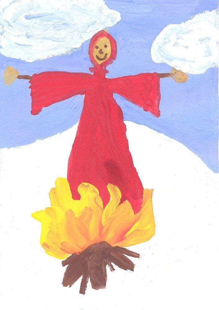 Масленица рисунок детский красками