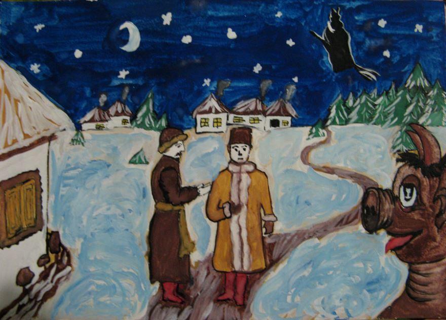 Нарисовать рисунок ночь перед рождеством легкие картинки