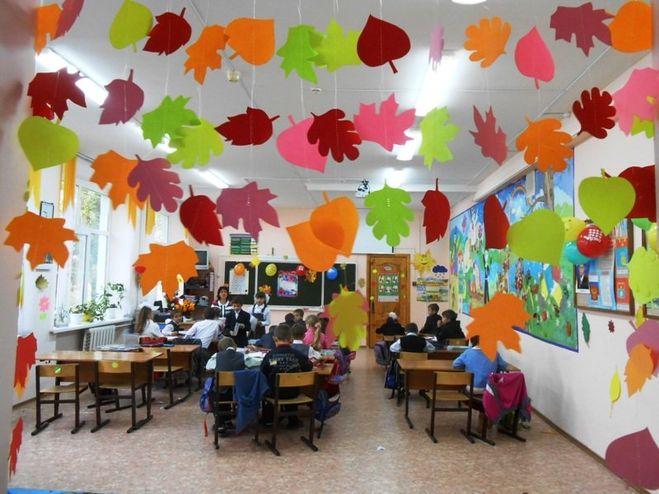 Красивая фото-идея оформление класса на день учителя
