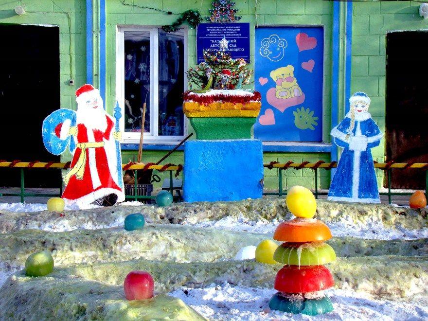 Украшение детского сада Новому году зала группы