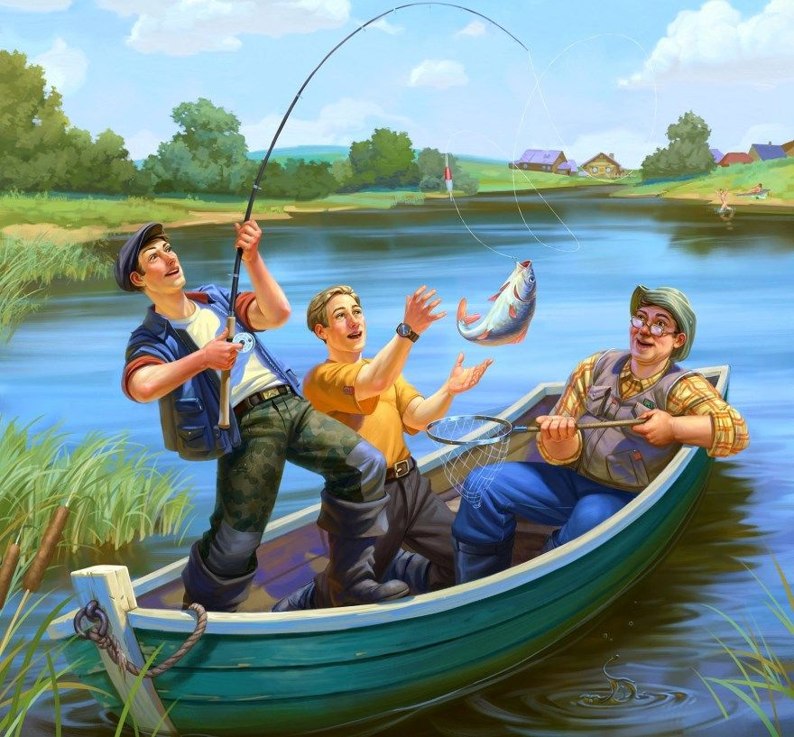 Юморные картинки про рыбалку
